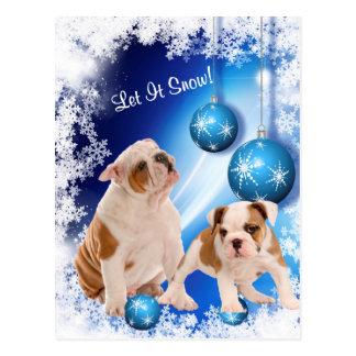 Bulldog Puppy Let It Snow Holiday Greeting Postcard