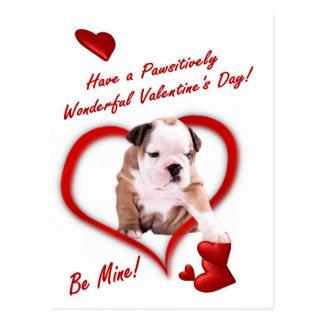 Bulldog Puppy Love In An Envelope Postcard