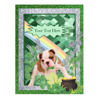 Bulldog Puppy Number 3 St Pattys Day Customize It Postcard