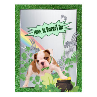 Bulldog Puppy Number Three Happy St Pattys Day Postcard