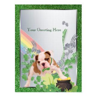 Bulldog Puppy Number Three St Pattys Customize It Postcard
