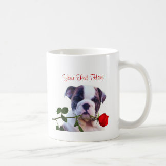 Bulldog Puppy Red Rose Valentine Design Basic White Mug