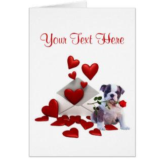 Bulldog Puppy Red Rose Valentine Design Greeting Card