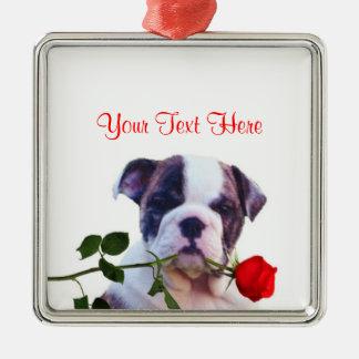 Bulldog Puppy Red Rose Valentine Design Square Metal Christmas Ornament
