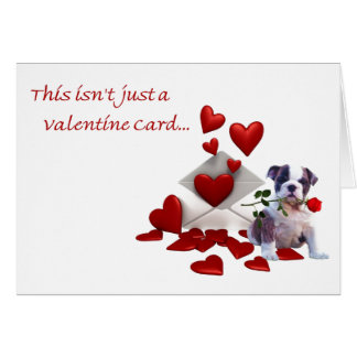 Bulldog Puppy Rose and Hearts Valentine Greeting Card