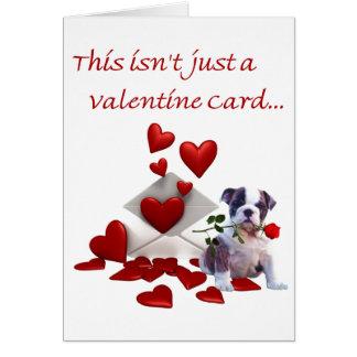 Bulldog Puppy Rose and Hearts Valentine Greeting Card