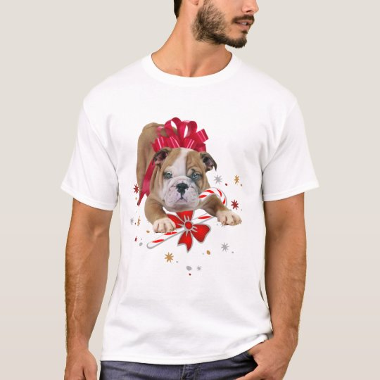 Bulldog puppy with red bow and candy cane T-Shirt