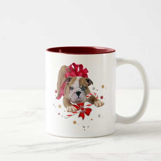 bulldog puppy with red bow and candy cane Two-Tone coffee mug