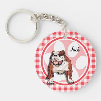 Bulldog; Red and White Gingham Keychain