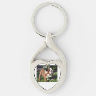 bulldog red and white love w pic Silver-Colored twisted heart key ring