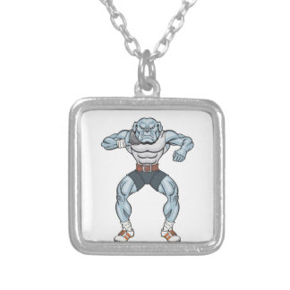 bulldog shotputter silver plated necklace