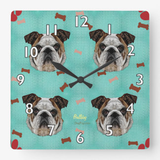 Bulldog Square Wall Clock