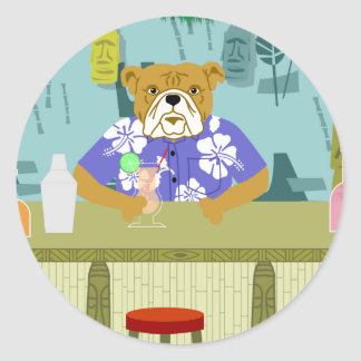 Bulldog Tiki Bar Classic Round Sticker