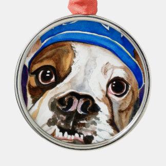 Bulldog Watercolor Dog Art Painting Christmas Ornament