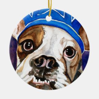 Bulldog Watercolor Dog Art Painting Round Ceramic Decoration