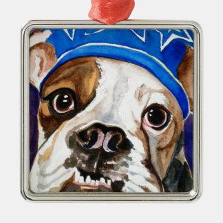 Bulldog Watercolor Dog Art Painting Silver-Colored Square Decoration
