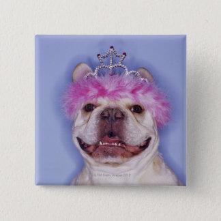 Bulldog wearing tiara 15 cm square badge