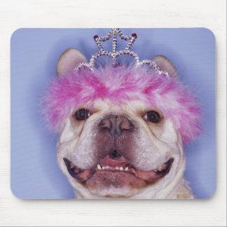 Bulldog wearing tiara mouse mat