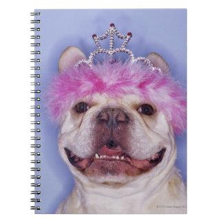 Bulldog wearing tiara notebook