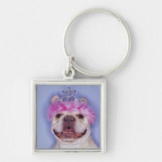 Bulldog wearing tiara Silver-Colored square key ring
