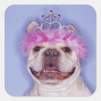 Bulldog wearing tiara square sticker