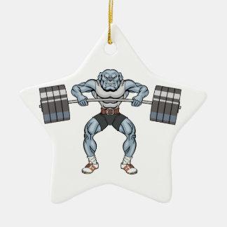 bulldog weight lifter christmas ornament