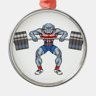 bulldog weight lifter Silver-Colored round decoration