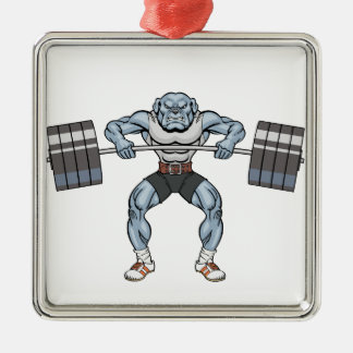 bulldog weight lifter Silver-Colored square decoration