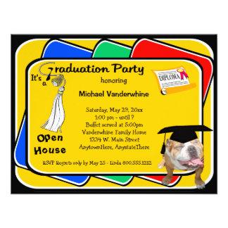 Bulldog White Graduation Growler Party Invitation