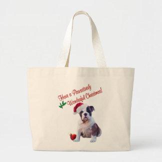 Bulldog Wishes for Pawsitively Wonderful Christmas Jumbo Tote Bag