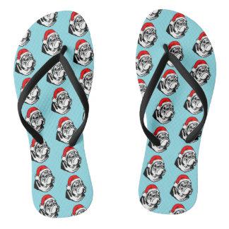 Bulldog with Christmas Santa Hat Pattern Flip Flops