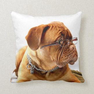 Bulldog with glasses Throw Pillow