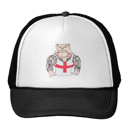 Bulldog with Tribal Tattoos Mesh Hats