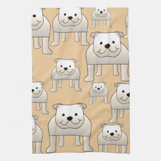 Bulldogs Design, in Neutral Colors. Tea Towel