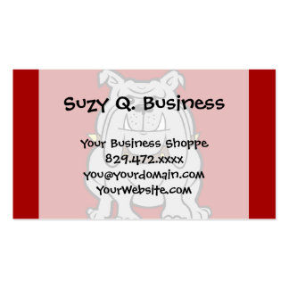 Bulldogs Mascot on Red Dog Lover Gifts Business Card