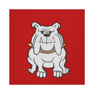 Bulldogs Mascot on Red Dog Lover Gifts Gallery Wrap Canvas