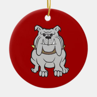 Bulldogs Mascot on Red Dog Lover Gifts Christmas Ornament