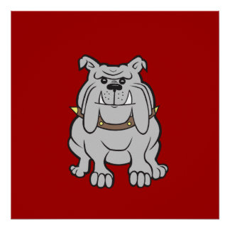 Bulldogs Mascot on Red Dog Lover Gifts Posters