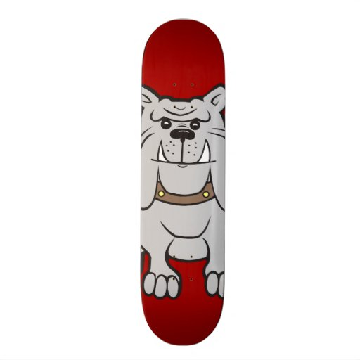 Bulldogs Mascot on Red Dog Lover Gifts Skate Deck