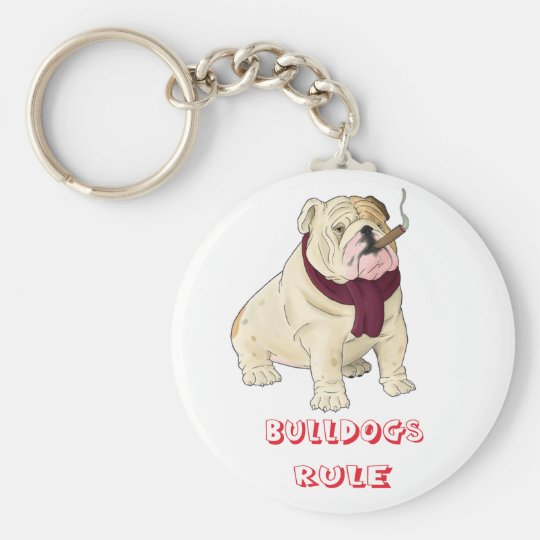 Bulldogs Rule! English Bulldog Puppy Dog Key Chain