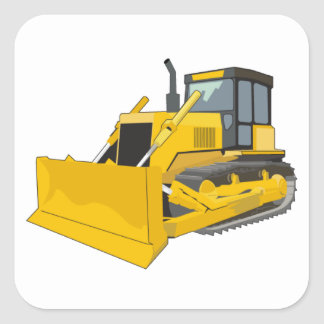 bulldozer 1 square sticker