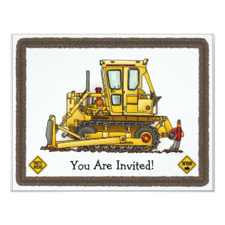 Bulldozer Dozer Kids Party Invitation