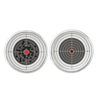 Bullet hole in the target - bull's eye shooting cufflinks