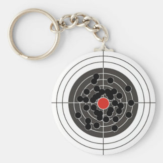 Bullet holes in target - but not the bulls-eye! basic round button key ring