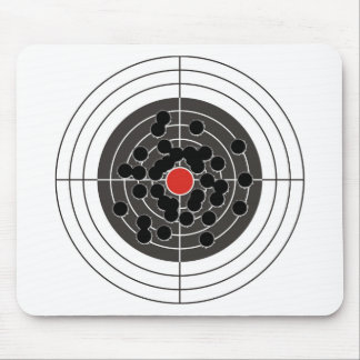 Bullet holes in target - but not the bulls-eye mouse pads