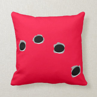 Bullet-riddled cushion! throw pillow