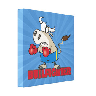 bullfighter funny boxer bull cartoon character stretched canvas print