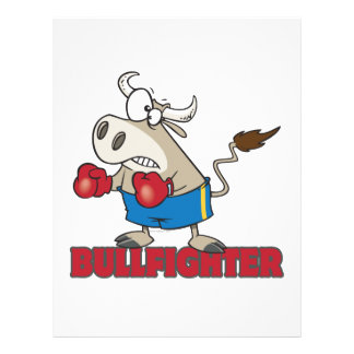 bullfighter funny boxer bull cartoon character flyers