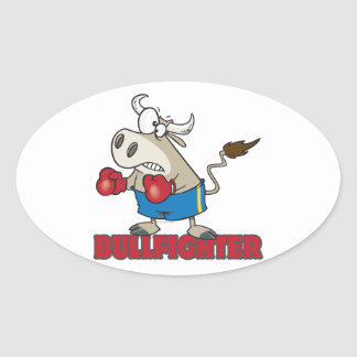 bullfighter funny boxer bull cartoon character oval sticker