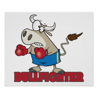 bullfighter funny boxer bull cartoon character posters